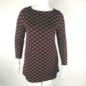 J. Jill Ponte Womans Floral Abstract Long Sleeve